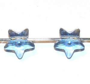 - SCS143 Light Sapphire Blue 8mm Faceted Star Swarovski Crystal Pendant Beads 2pc Making Beading Beaded Necklaces Yoga Bracelets