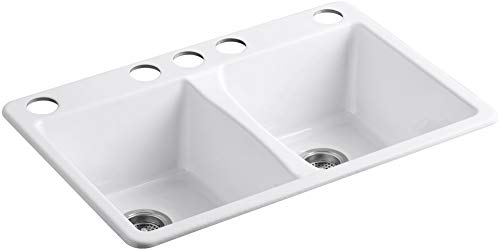 Five Hole Double Bowl - KOHLER K-5873-5U-0 Deerfield Double Bowl Undermount Kitchen Sink with Five Hole Drilling, White