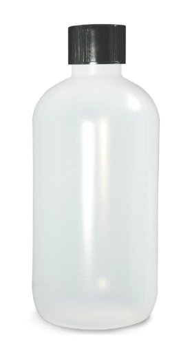 - Qorpak PLC-03683 Natural LDPE Boston Round Bottle with 28-400 Black Phenolic PolyCone Form Cap, 16oz Capacity, 79mm OD x 154mm Height (Case of 24)