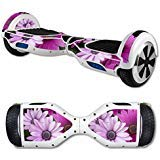 MightySkins Skin Compatible with Self Balancing Mini Scooter Hover Board - Purple Flowers | Protective, Durable, and Unique Vinyl Decal wrap Cover | Easy to Apply, Remove | Made in The USA