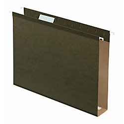 Office Depot(R) Brand Tab-View Extra-Capacity Box-Bottom Hanging Folders, 2in. Expansion, Letter Size, 70% Recycled, Green, Box Of 25