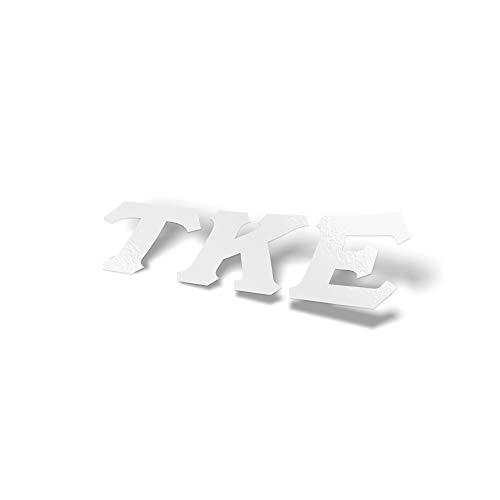 (Tau Kappa Epsilon Fraternity White Letter Sticker Decal Greek 2 Inches Tall for Window Laptop Computer Car TKE )