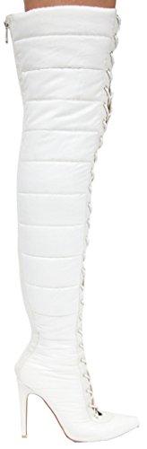 Cape Robbin Gigi-23 Sur Les Genoux Bout Pointu Lacets Puffer Cuisse Bottes À Talons Hauts Blanc Blanc