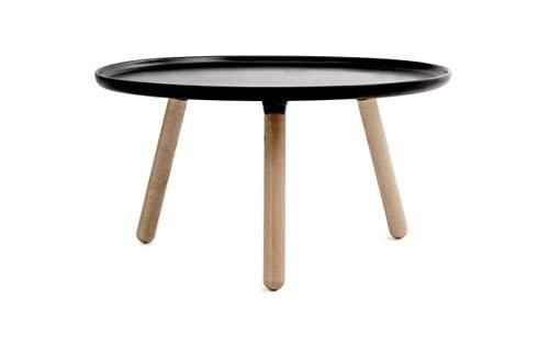 - Tablo Side Table Dia78H43 cm Fiberglass Table Top Ash Wood Legs,Black