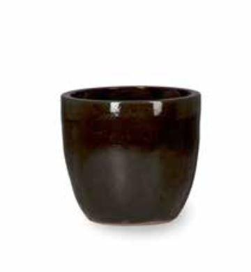 Blumenübertopf Couple aus Keramik, sonnen- und regenbeständig für Innen und Außen, Farbe Schwarz glänzend Ø 46cm Höhe 43cm