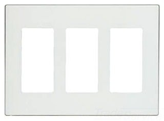 Leviton 80311-SW 3-Gang Decora Plus Wallplate Screwless Snap-On Mount, White, 10-Pack