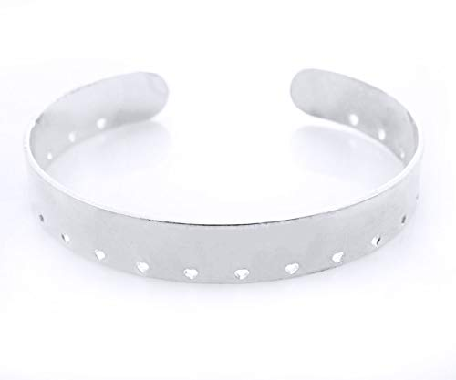1pc Silver Plated Brass Adjustable Open Cuff Bracelet Base Bangle w 22 x 1.5mm Heart Holes DIY Glue On Stitch Beadable Weaving 10mm Wide