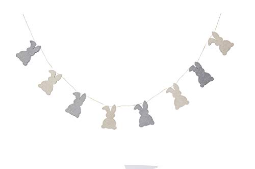 De Kulture Handmade Felt Easter Bunny Garland (48 inches Long) for Easter Decoration Home Decoration Party Decoration (Grey and Off-White) ()
