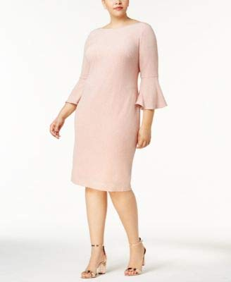 (Calvin Klein Womens Plus Bell Sleeve Shimmer Party Dress Pink 20W)