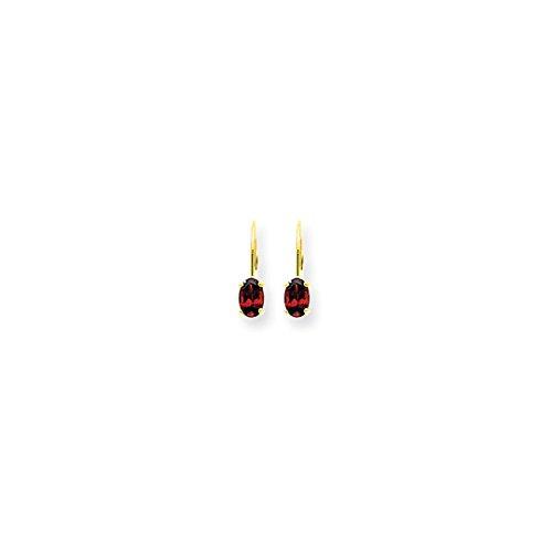 14k Yellow Gold 6x4mm Oval Red Garnet Leverback Earrings Lever Back Drop Dangle Gemstone Prong Fine Jewelry For Women Gift Set