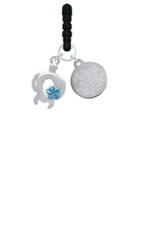 Plumeria Clasp Bracelet - Open Sea Turtle with Blue Plumeria Stronger Braver Smarter Phone Charm
