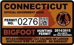 "Connecticut Bigfoot Hunting Permit 2.4"" x 4"" Decal Sticker"