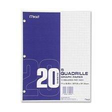 Graph Paper, 5''x5'' Quad, 3HP, 8-1/2''x11'', 240 SH/BX, White, Sold as 1 Box, 12 Each per Box by Mead