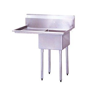 Top Mount Drainboard (BK Resources Stainless Steel 1 Compartment Sink with Left Hand Drainboard, 36-1/2