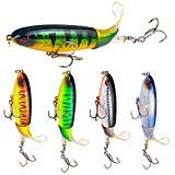 MINGZE 5-Pack Whopper Plopper Bass Lure 0.46oz/3.94 inch Artificial Hard Bait Topwater Floating Fishing Lures