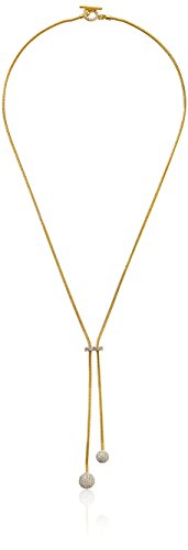 nOir Jewelry Gold Pave Sphere Lariat Y-Shaped Necklace - Pave Sphere
