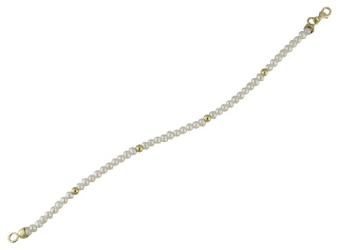 18K Yellow Gold cultivated pearl Bracelet with beads 6 inch