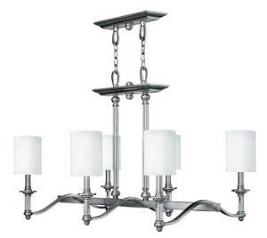 Hinkley 4796BN Traditional Six Light Linear Chandelier from Sussex collection in Pwt, Nckl, B/S, Slvr.finish,