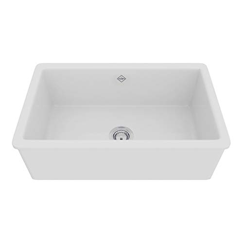 - Rohl UM3018WH Shaws Classic 30-Inch Single Bowl Modern Undermount Fireclay Kitchen Sink, White