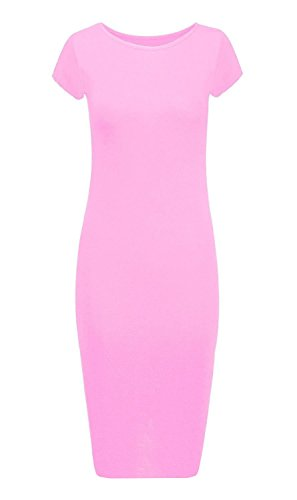 Crazy Girls Womens Ladies Cap Sleeve Scoop Neck Midi - Girls Jersey Dress Pink