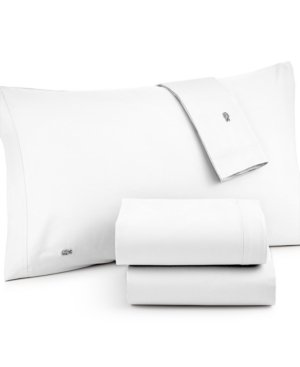 Lacoste Solid Brushed Twill White Sheet Set - King (220 Thread Count) - Brushed Twill Sheet Set