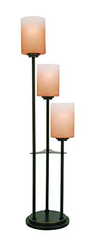 Lite Source LS-20700D/BRZ Bess 3-Light Table Lamp with Amber-Glass Shades, Dark Bronze