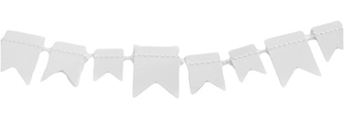 White Mini 2 Point Banner, 6ft, Birthday, Shower, Scrapbooking, Cardmaking, Paper Crafts, Cake Decorations, Party Decor