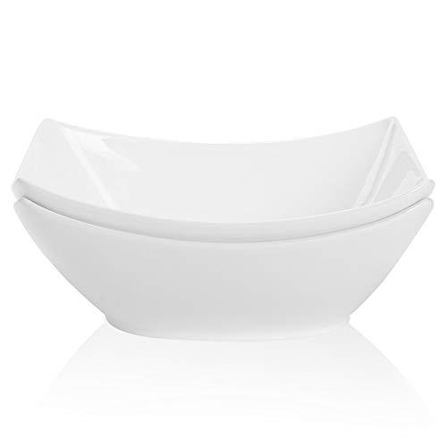 TGLBT Square Serving Bowls Porcelain,45 Ounce Bone China/Salad Soup Bowl Set Of 2,White