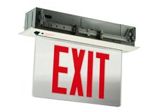 Edge Lit Exit Sign - Recessed Mounted - Double Face - Battery - Aluminum Housing