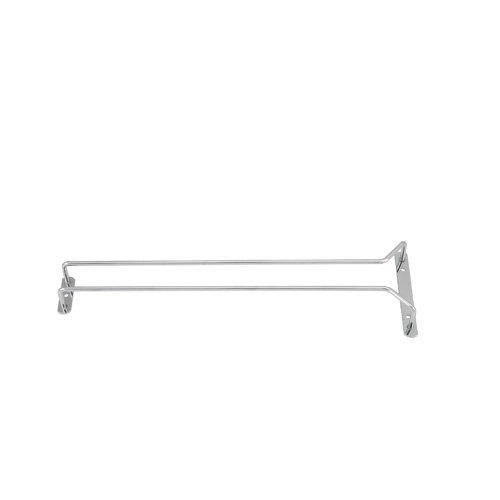 Winco GHC-16, 16-Inch Chrome Plated Wire Glass Hanger Rack, Single Channel Bar Glass Holder, Stemware Rack