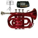Merano B Flat Red Pocket Trumpet with Case+Metro Tuner+Black Music Stand by Merano