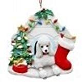 White Poodle in Christmas Doghouse Ornament
