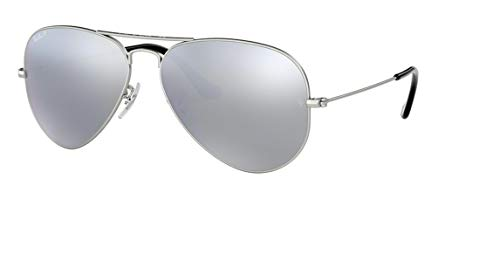 - Ray-Ban AVIATOR MIRROR 58mm Silver w/ Polarized Grey Classic Sunglasses