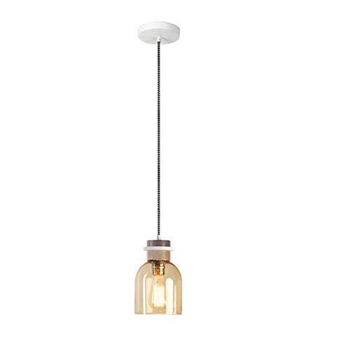Pendant Light Industrial Design E27 Bar Restaurant Study Desk Desk Lamp - Amber/Smoke Gray - Simple Glass Log Pendant Lamp -Indoor - Amber Pendant Iron