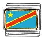 (Zaire (Congo) Flag Italian Charm Bracelet Link)