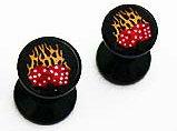 Oreille-clous, en acrylique noir avec dés-flamés; 3mm.
