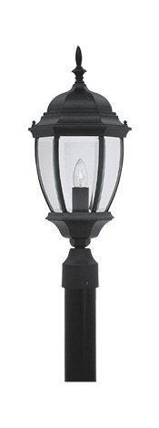 Black 1 Light 9.5in. Cast Aluminum Post Lantern from the Tiverton Collection Tiverton 1 Light Cast