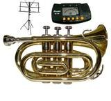 Merano NEW B Flat Gold / Silver Pocket Trumpet with Case+Mouth Piece+Metro Tuner+Black Music Stand WD480