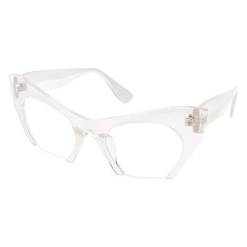 b68d90022d Semi Rimless Cat Eye Glasses Clear Lens Half Frame Cut Off Bottom (Clear)