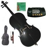 Merano 4/4 (Full) Size Black Cello with Bag and Bow + Extra Set of Strings+Metro Tuner+Bridge+Rosin by Merano
