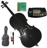 Merano 4/4 (Full) Size Black Cello with Bag and Bow + Extra Set of Strings+Metro Tuner+Bridge+Rosin