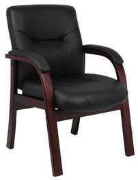 Boss Office Products B8909 Executive Leather Guest Chair with Mahgany Finish in Black