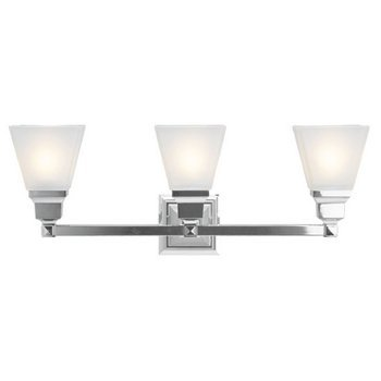 Livex Lighting 1033-05 Mission 3 Light Vanity Polished Chrome with Frosted Glass