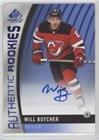Will Butcher (Hockey Card) 2017-18 Upper Deck SP Game Used - [Base] - Blue Autographs [Autographed] #172
