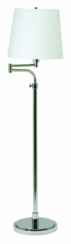 House Of Troy TH700-PN Town House Collection Portable Floor Lamp, Polished Nickel with Off-White Linen Hardback Shade