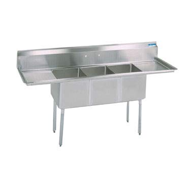 BK Resources Stainless Steel Three Compartment NSF Sink With 18'' Left & Right Drainboard