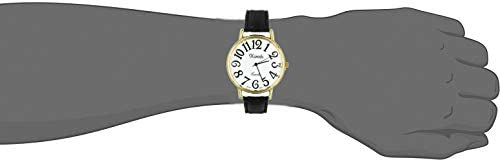 Xanadu Gold Tone Case Black Leather Watch with Easy to Read Dial