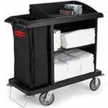 RCP6190BLA - Black Compact Housekeeping Cart 49 X 22 X 50