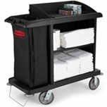 RCP6190BLA - Black Compact Housekeeping Cart 49 X 22 X 50
