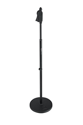 """Gator Frameworks Microphone Stand with 10"""" Weighted Base and Deluxe Soft Grip Squeeze Height Adjustment (GFW-MIC-1001)"""